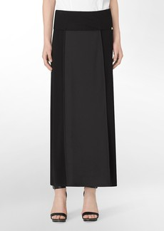 solid center foldover waistband center pleat maxi skirt