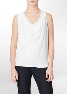 solid chiffon drape sleeveless top