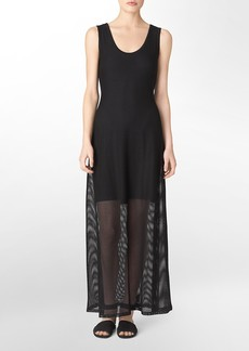 solid mesh sleeveless maxi dress