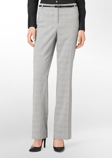 straight fit grey mini plaid belted suit pants