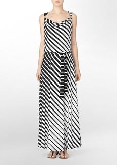 striped belted cowlneck maxi dress