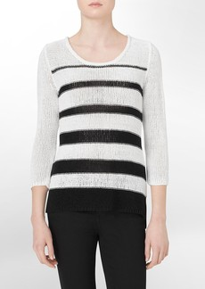 striped open stitch sweater