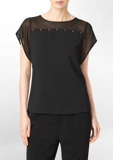 stud + sheer detail short sleeve top