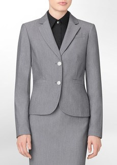 textured 2-button closure suit jacket