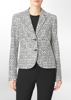 two button animal print blazer
