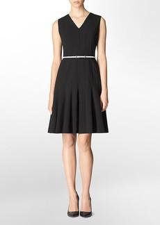 v-neck belted fit + flare dress