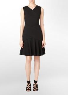 v-neck flounce fit + flare sleeveless dress