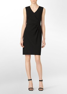 v-neck ruched sleeveless sheath dress