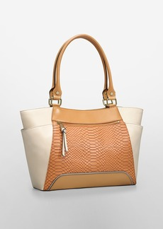 washington snake textured leather tote
