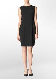 zip detail sleeveless sheath dress