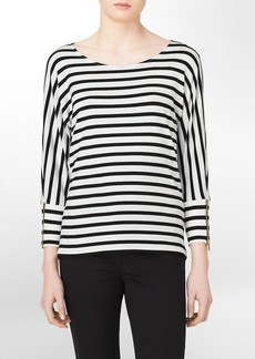 zip detail striped 3/4 sleeve top