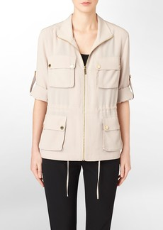 zip front roll-up sleeve camp jacket