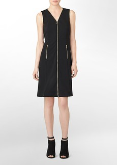 zip front v-neck fit + flare sleeveless dress