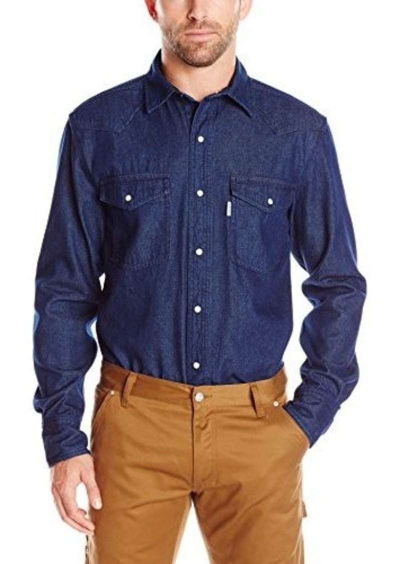 Carhartt carhartt men 39 s ironwood denim work shirt snap for Mens denim work shirt
