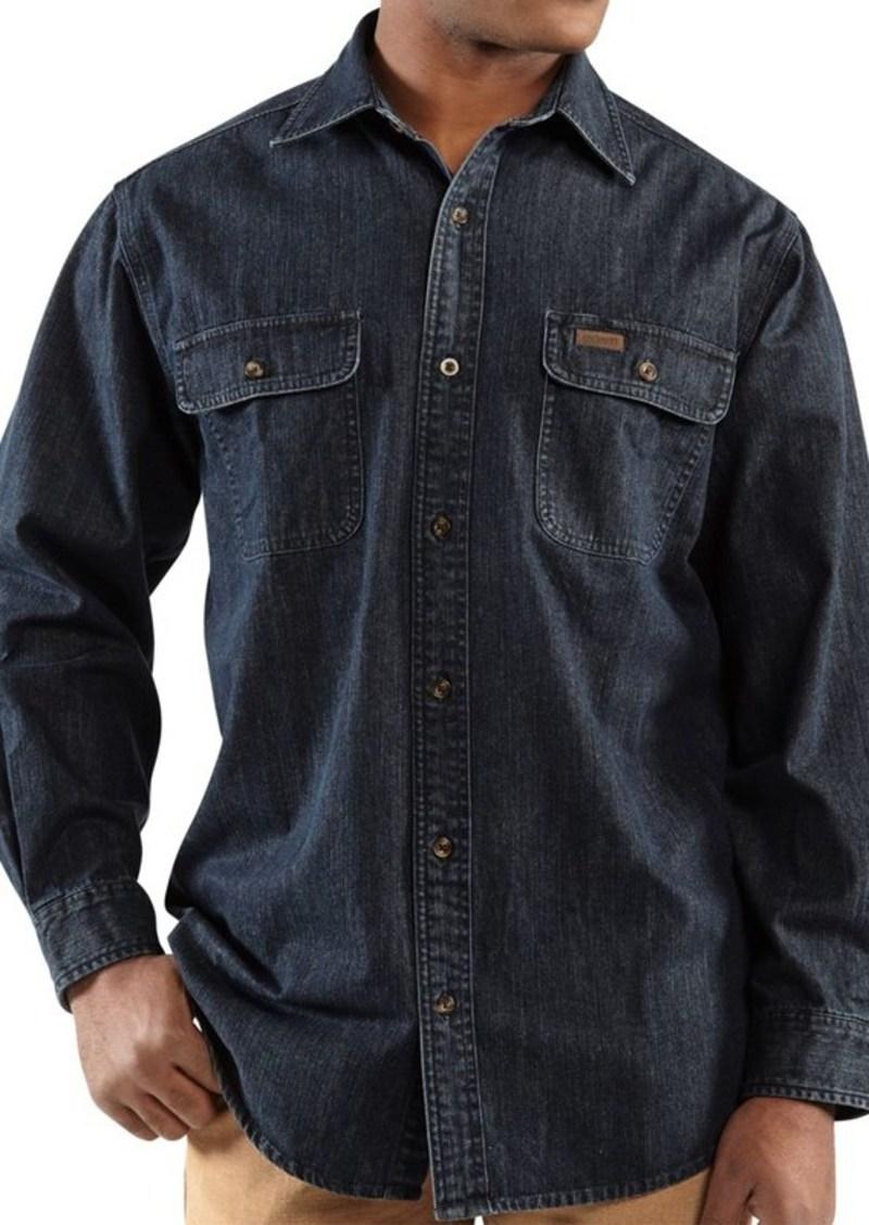Carhartt carhartt washed denim work shirt long sleeve for Carhartt men s chamois long sleeve shirt