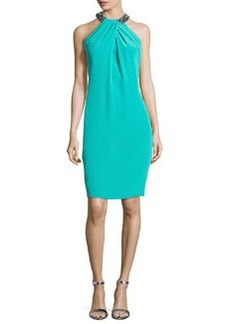 Bead-Neck Toga Cocktail Dress, Jade   Bead-Neck Toga Cocktail Dress, Jade