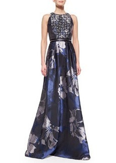 Beaded-Bodice Floral Evening Gown, Midnight   Beaded-Bodice Floral Evening Gown, Midnight