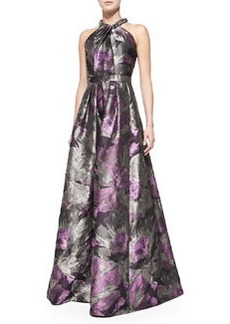 Beaded Halter-Neck Floral Gown   Beaded Halter-Neck Floral Gown