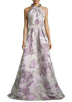 Beaded-Neck Floral-Jacquard Gown, Platinum   Beaded-Neck Floral-Jacquard Gown, Platinum