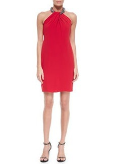 Beaded-Neck Toga Cocktail Dress, Red   Beaded-Neck Toga Cocktail Dress, Red