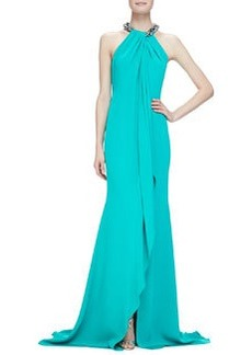Beaded-Neck Toga Gown, Jade   Beaded-Neck Toga Gown, Jade