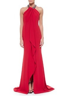 Beaded-Neck Toga Gown, Red   Beaded-Neck Toga Gown, Red