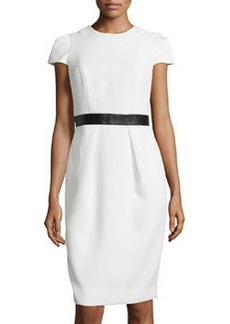 Cap-Sleeve Leather-Waist Dress, White   Cap-Sleeve Leather-Waist Dress, White