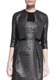 Carmen Marc Valvo 3/4-Sleeve Cropped Textured Jacket