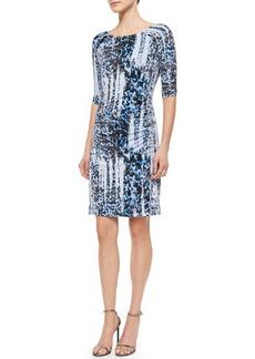 Carmen Marc Valvo 3/4-Sleeve Ikat-Print Jersey Dress  3/4-Sleeve Ikat-Print Jersey Dress