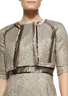 Carmen Marc Valvo 3/4-Sleeve Metallic Jacquard Bolero Jacket  3/4-Sleeve Metallic Jacquard Bolero Jacket