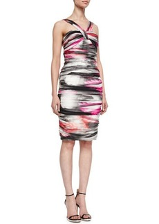 Carmen Marc Valvo Airbrushed Halter-Style Cocktail Dress