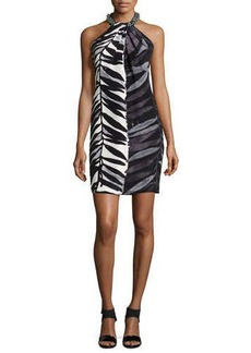 Carmen Marc Valvo Animal-Print Beaded-Neck Toga Dress