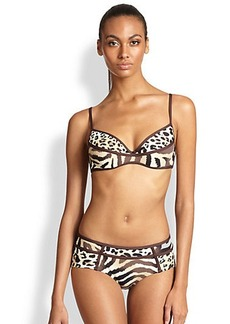 Carmen Marc Valvo Animal Print Bikini Top
