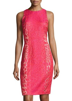 Carmen Marc Valvo Animal-Print Jacquard Dress