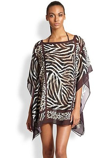 Carmen Marc Valvo Animal Print Sheer Tunic