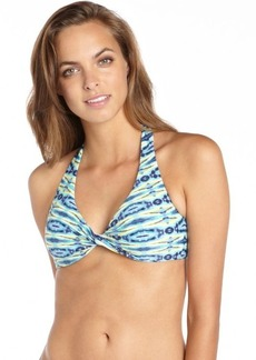 Carmen Marc Valvo aquamarine and yellow stretch 'African Sunset' halter twist bikini top