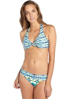 Carmen Marc Valvo aquamarine and yellow stretch 'African Sunset' rolled over bikini bottom