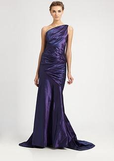 Carmen Marc Valvo Asymmetrical Taffeta Gown