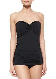 Carmen Marc Valvo Bead-Detail Bandeau Swimdress