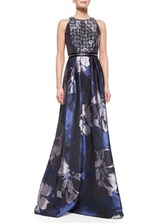 Carmen Marc Valvo Beaded-Bodice Floral Evening Gown, Midnight