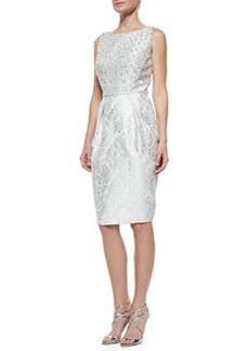 Carmen Marc Valvo Beaded Bodice Jacquard Cocktail Dress