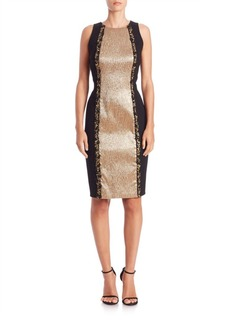 Carmen Marc Valvo Beaded Color-Blocked Sheath Dress