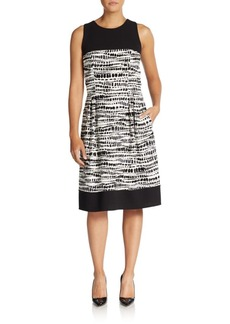 Carmen Marc Valvo Beaded Graphic Print A-Line Dress