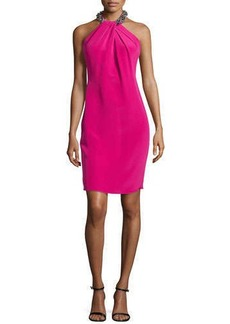 Carmen Marc Valvo Beaded Halter Cocktail Dress, Framboise