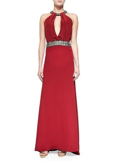 Carmen Marc Valvo Beaded Halter-Neck & Waist Gown