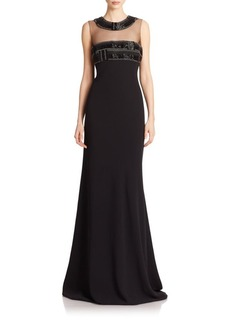 Carmen Marc Valvo Beaded-Illusion Gown