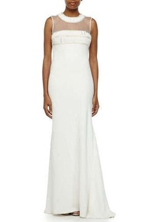 Carmen Marc Valvo Beaded Illusion-Neck Mermaid Gown  Beaded Illusion-Neck Mermaid Gown