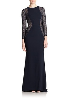 Carmen Marc Valvo Beaded Lace & Crepe Gown