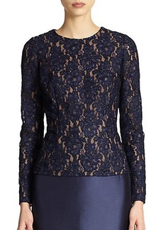 Carmen Marc Valvo Beaded Lace Top
