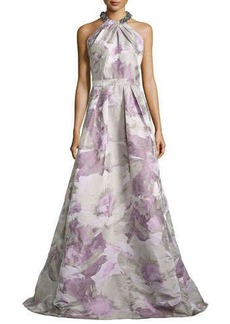 Carmen Marc Valvo Beaded-Neck Floral-Jacquard Gown, Platinum